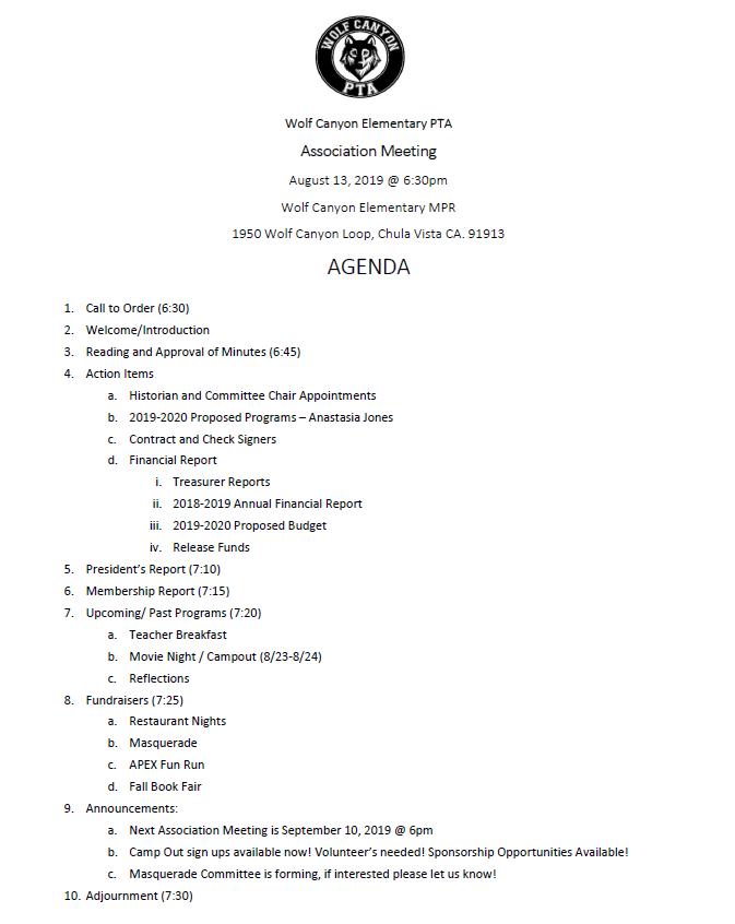 August 13 PTA Agenda